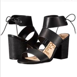 Sam Edelman Black Valerie Block Heel Tie Sandals